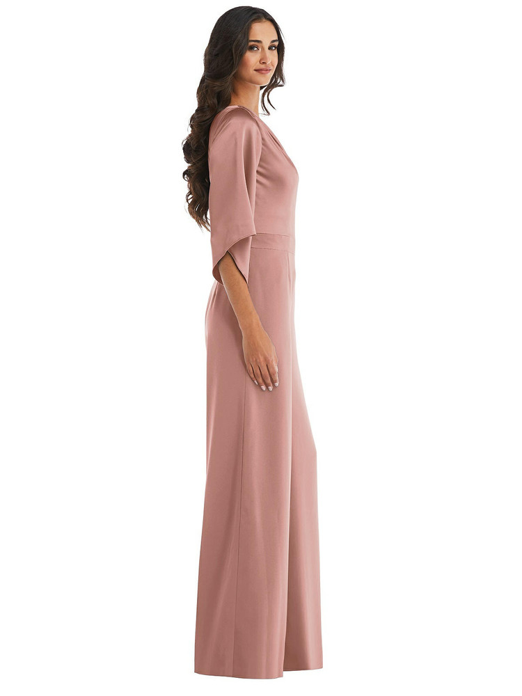 One-Shoulder Bell Sleeve Jumpsuit with Pockets style 6839 available in 37 colors