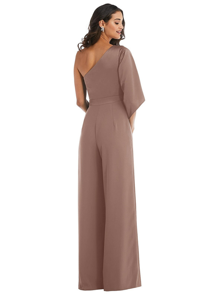One-Shoulder Bell Sleeve Jumpsuit with Pockets style 6839 available in 35 colors