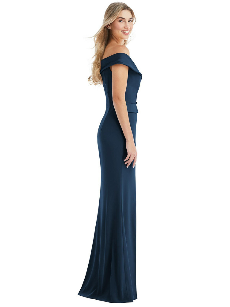 Off-the-Shoulder Tuxedo Maxi Dress with Front Slit style 6843 available in 15 colors