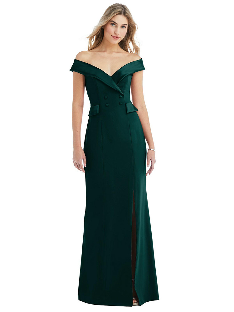 Off-the-Shoulder Tuxedo Maxi Dress with Front Slit style 6843 available in 16 colors