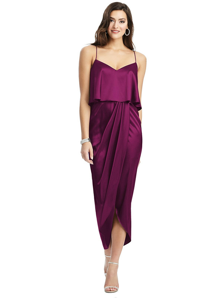 Popover Bodice Midi Dress with Draped Tulip Skirt style 6830 available in 37 colors
