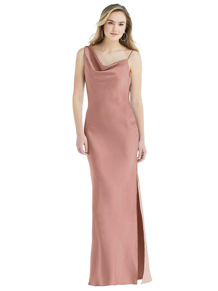 Asymmetrical One-Shoulder Cowl Maxi Slip Dress available in 22 colors