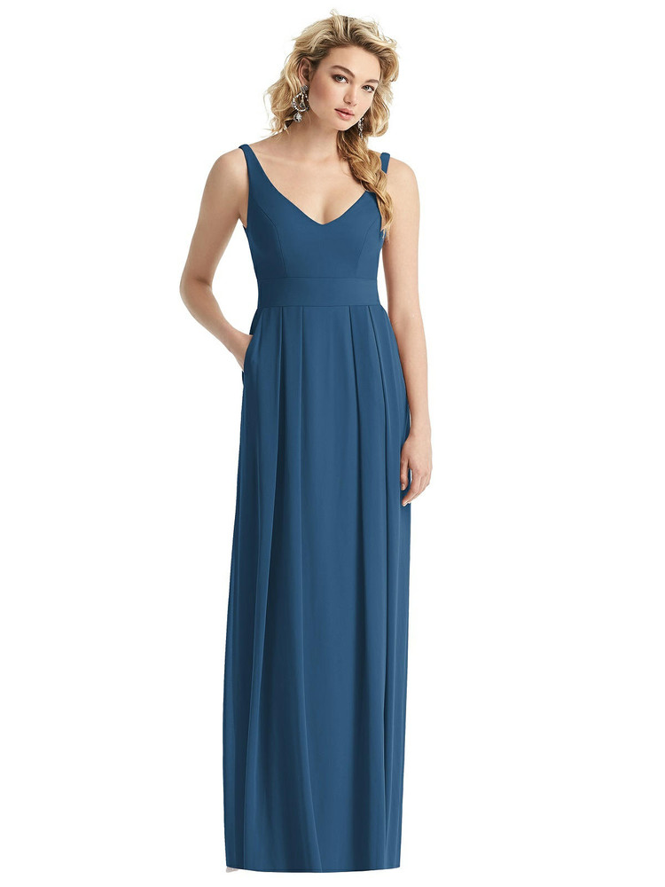 Sleeveless Pleated Skirt Maxi Dress with Pockets style 1519 by After Six in 63 colors in dusty blue
