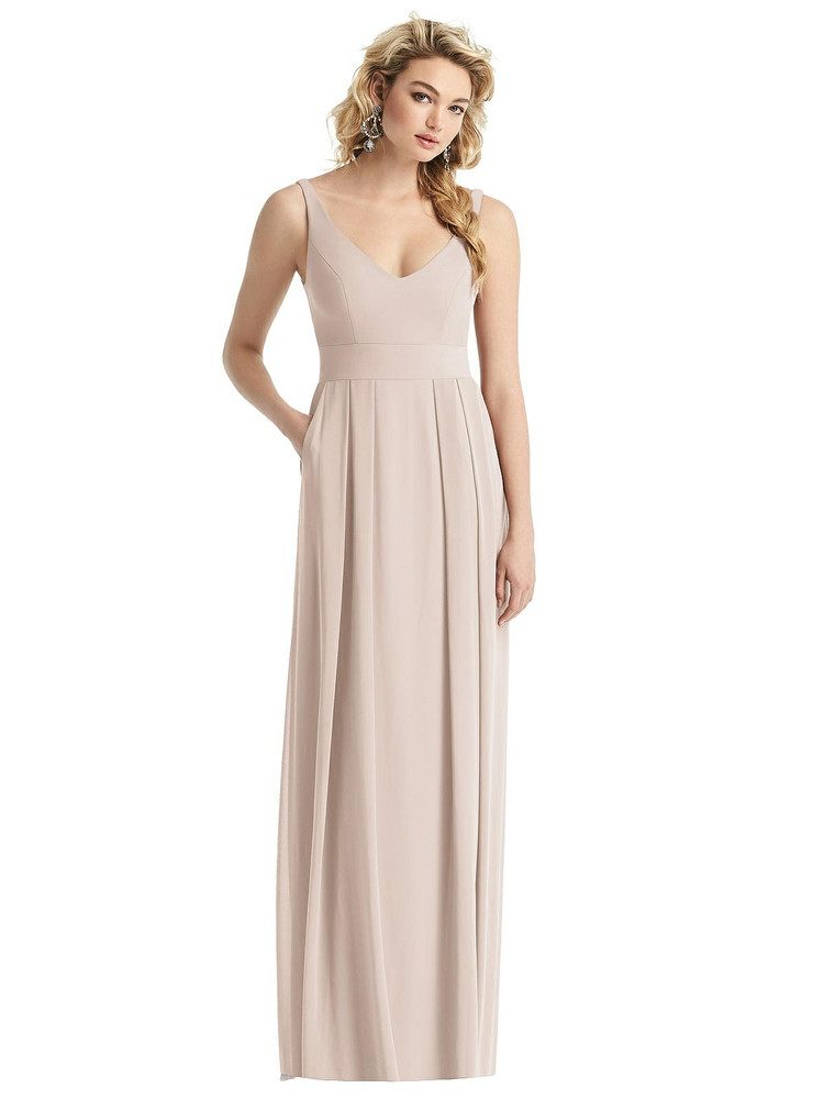Sleeveless Pleated Skirt Maxi Dress with Pockets style 1519 by After Six in 63 colors in cameo