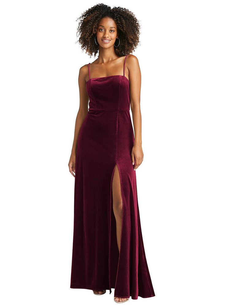 Square Neck Velvet Maxi Dress with Front Slit - Drew by Lovely LB022 in 8 colors
