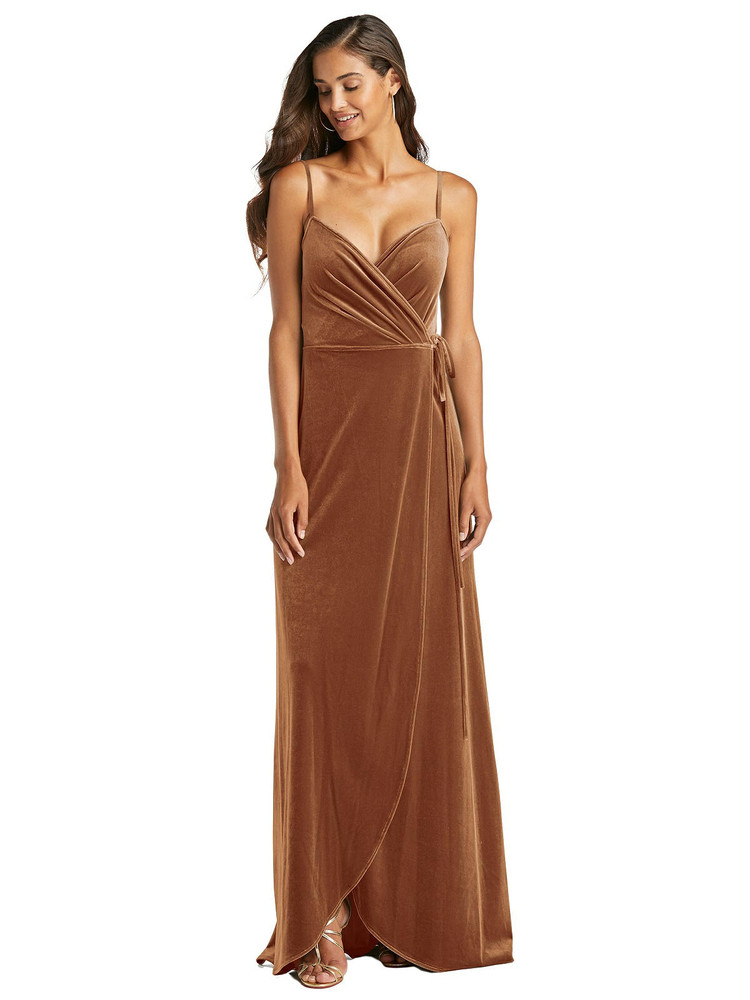 Velvet Wrap Maxi Dress with Pockets by After Six 1536 in 8 colors