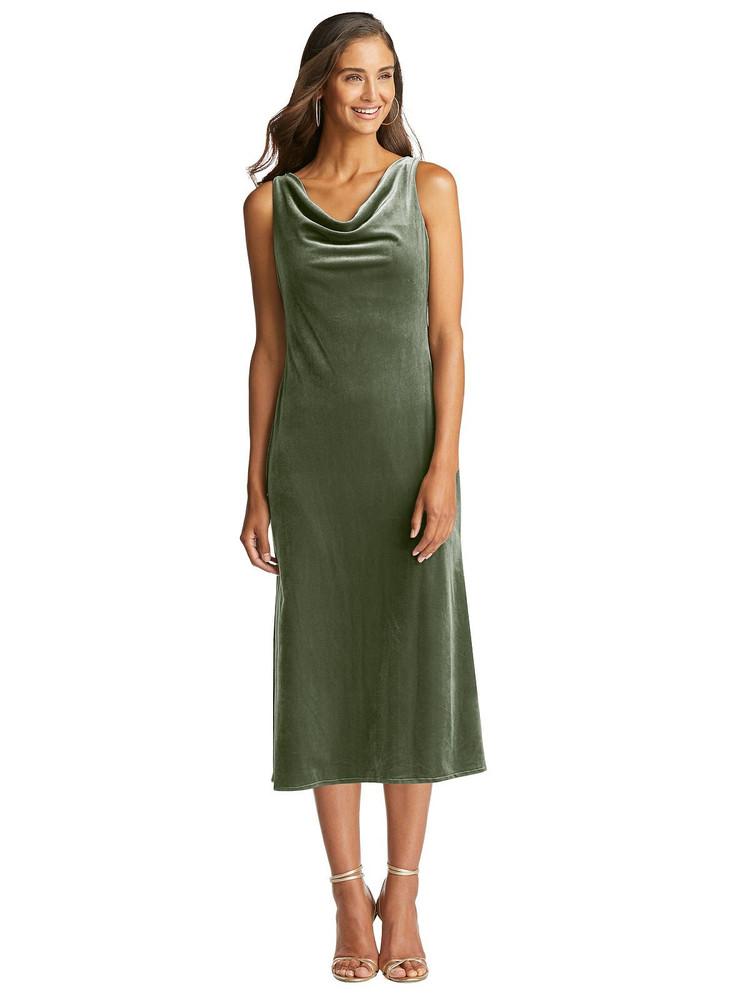 Cowl-Neck Velvet Midi Tank Dress - Rowan by Lovely LB018 in 8 colors in sage