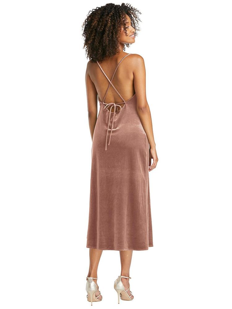 Cowl-Neck Convertible Velvet Midi Slip Dress - Isa by Lovely LB020 in 8 colors