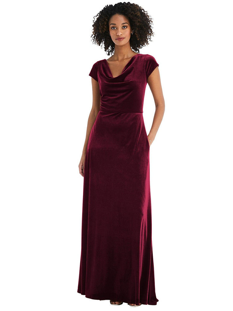 Cowl-Neck Cap Sleeve Velvet Maxi Dress with Pockets by After Six 1535 in 8 colors