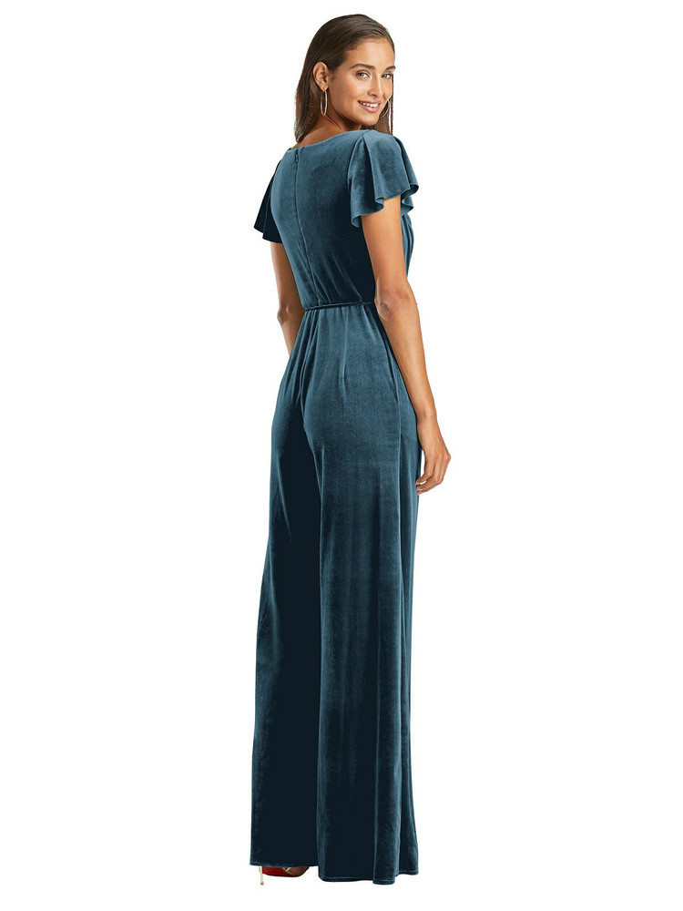 Flutter Sleeve Velvet Jumpsuit with Pockets by After Six 1542 in 8 colors