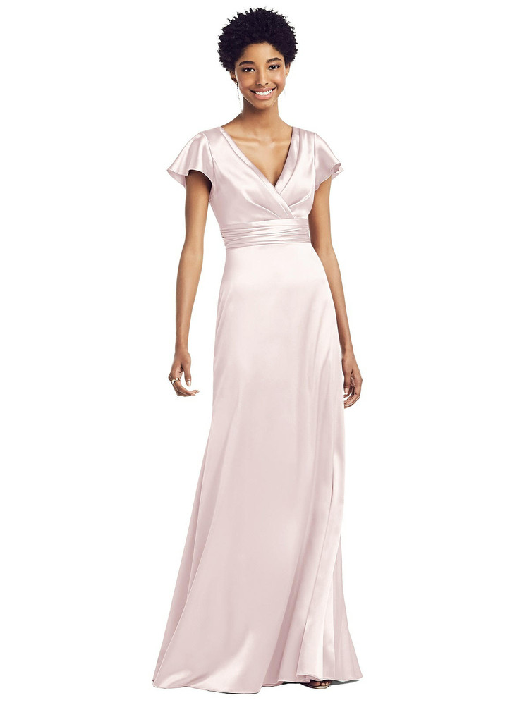 Flutter Sleeve Draped Wrap Stretch Maxi Dress by Social Bridesmaid 8197 in 33 colors