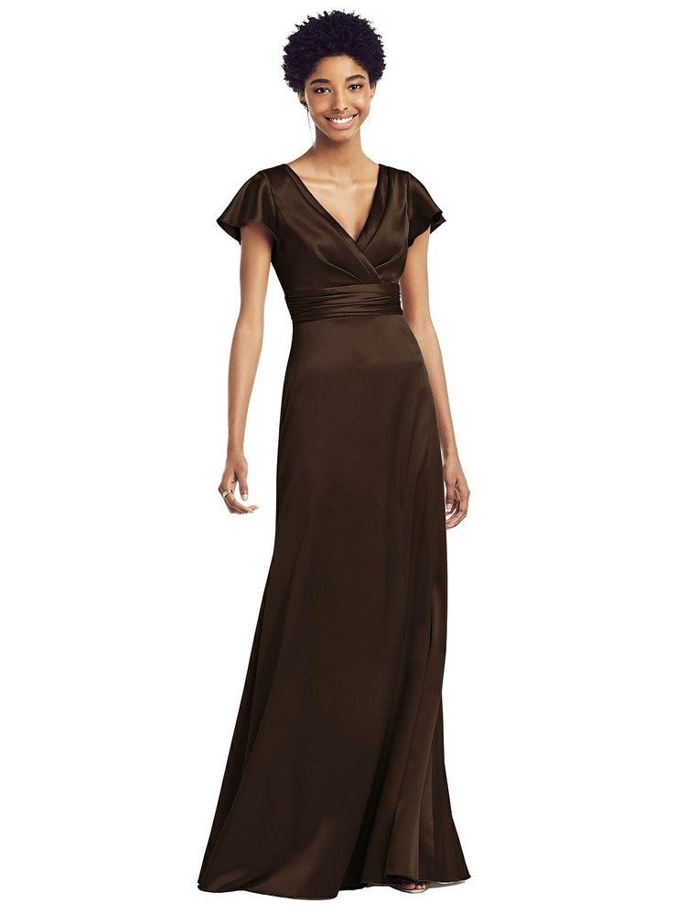 Flutter Sleeve Draped Wrap Stretch Maxi Dress by Social Bridesmaid 8197 in 33 colors in Espresso