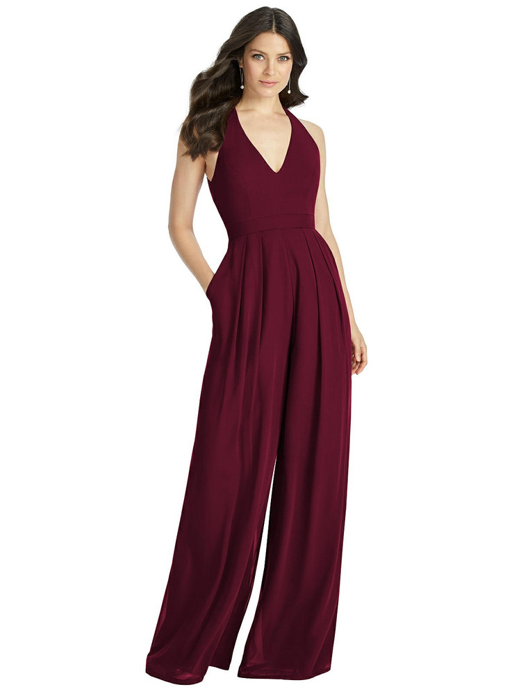 V-Neck Backless Pleated Front Jumpsuit - Arielle by Dessy Bridesmaid 3046 in 63 colors