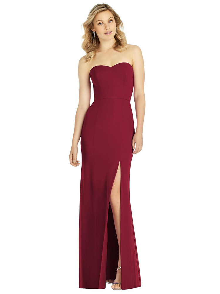 Strapless Chiffon Trumpet Gown with Front Slit by After Six 6803 in 8 colors in burgundy