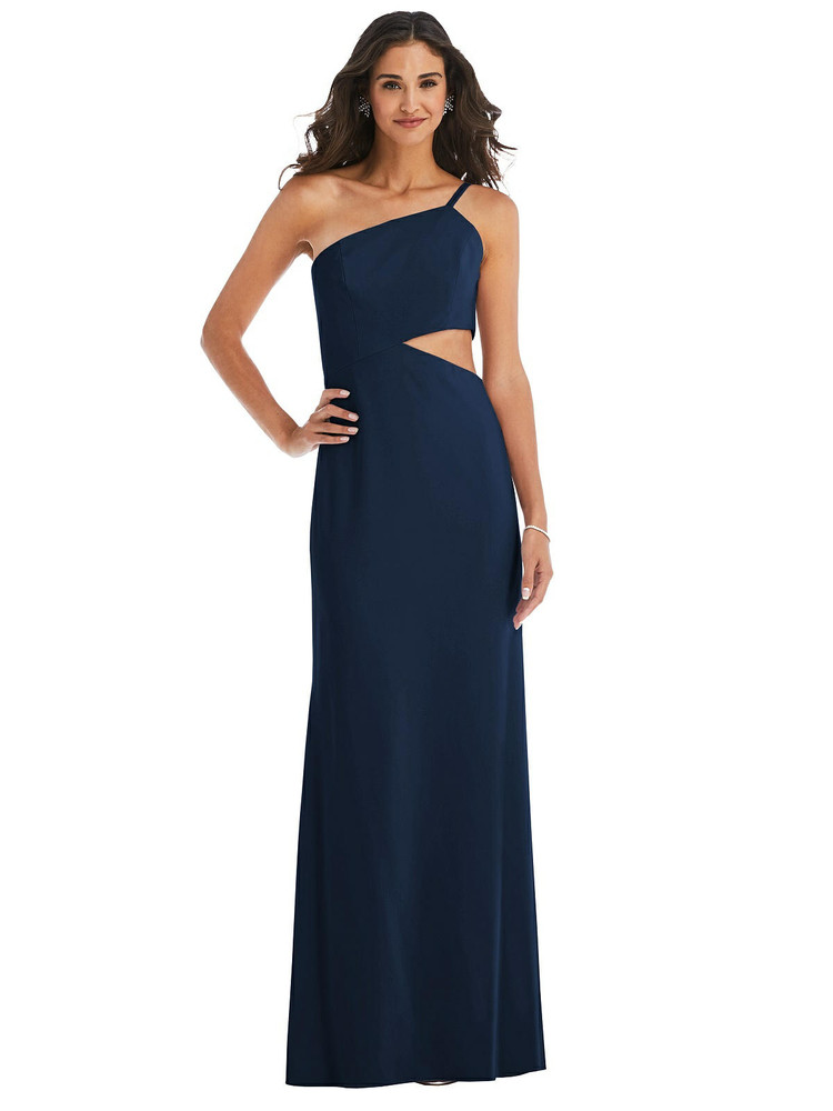 One-Shoulder Midriff Cutout Maxi Dress by  After Six 6844 available in 34 colors
