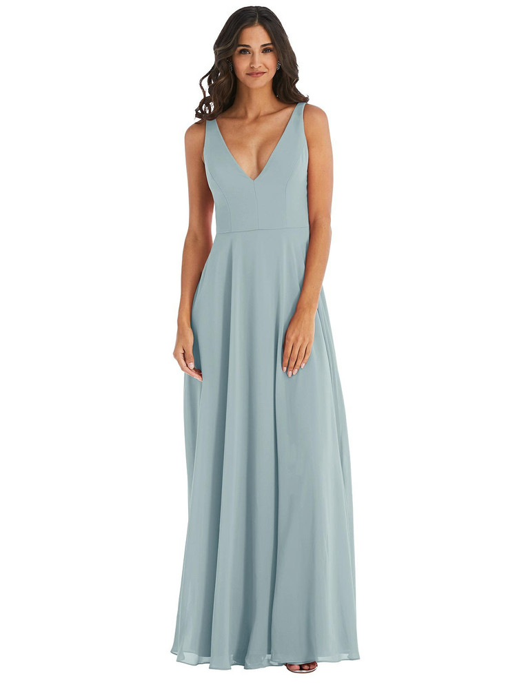 Deep V-Neck Chiffon Maxi Dress by  After Six 1549 available in 64 colors in morning sky