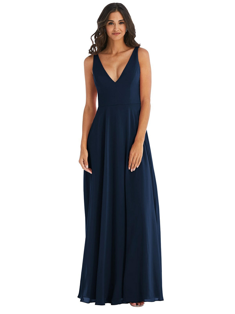 Deep V-Neck Chiffon Maxi Dress by  After Six 1549 available in 64 colors
