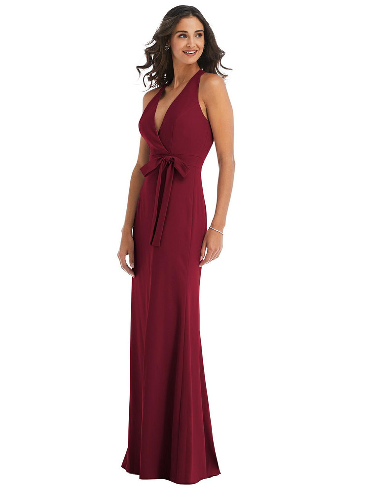 Open-Back Halter Maxi Dress with Draped Bow By After Six 6836 available in 34 colors