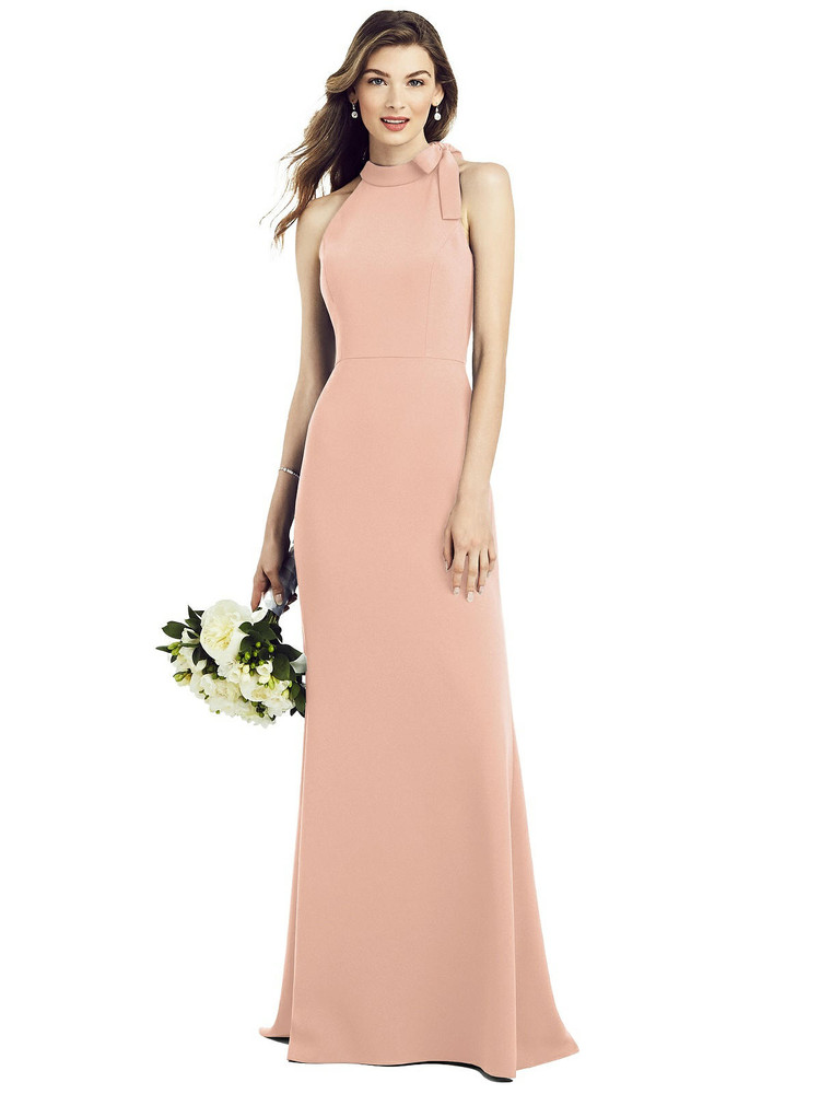 Bow-Neck Open-Back Trumpet Gown by  After Six 6827 available in 34 colors