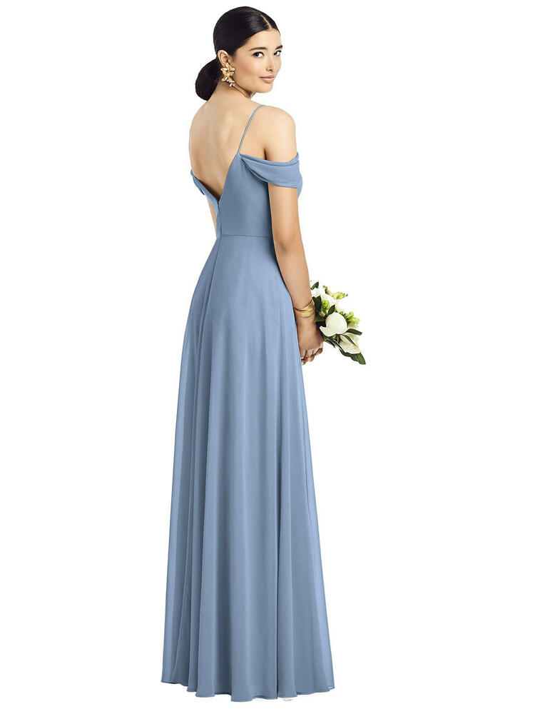 Cold-Shoulder V-Back Chiffon Maxi Dress by  After Six 1526 in 64 colors
