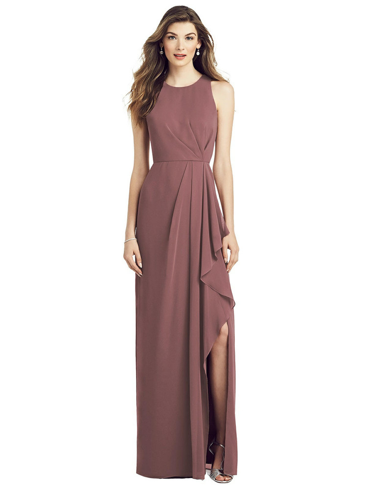 Sleeveless Chiffon Dress with Draped Front Slit by  After Six 6818 in 64 colors in english rose