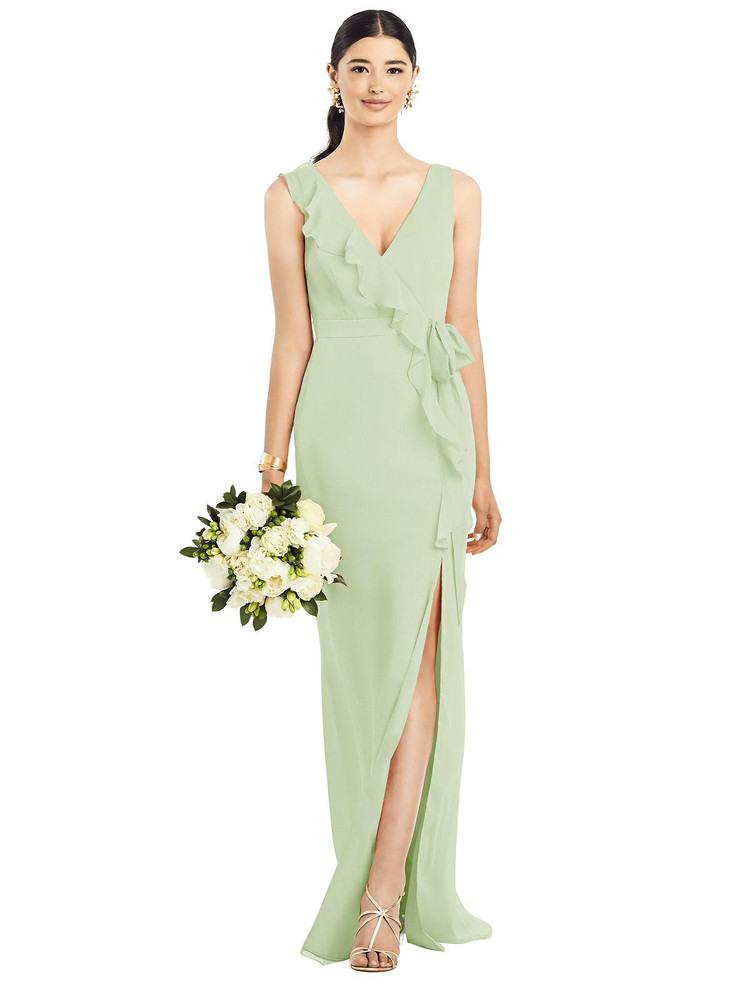 Sleeveless Ruffled Wrap Chiffon Gown by  After Six 1528 in 64 colors in Limeade