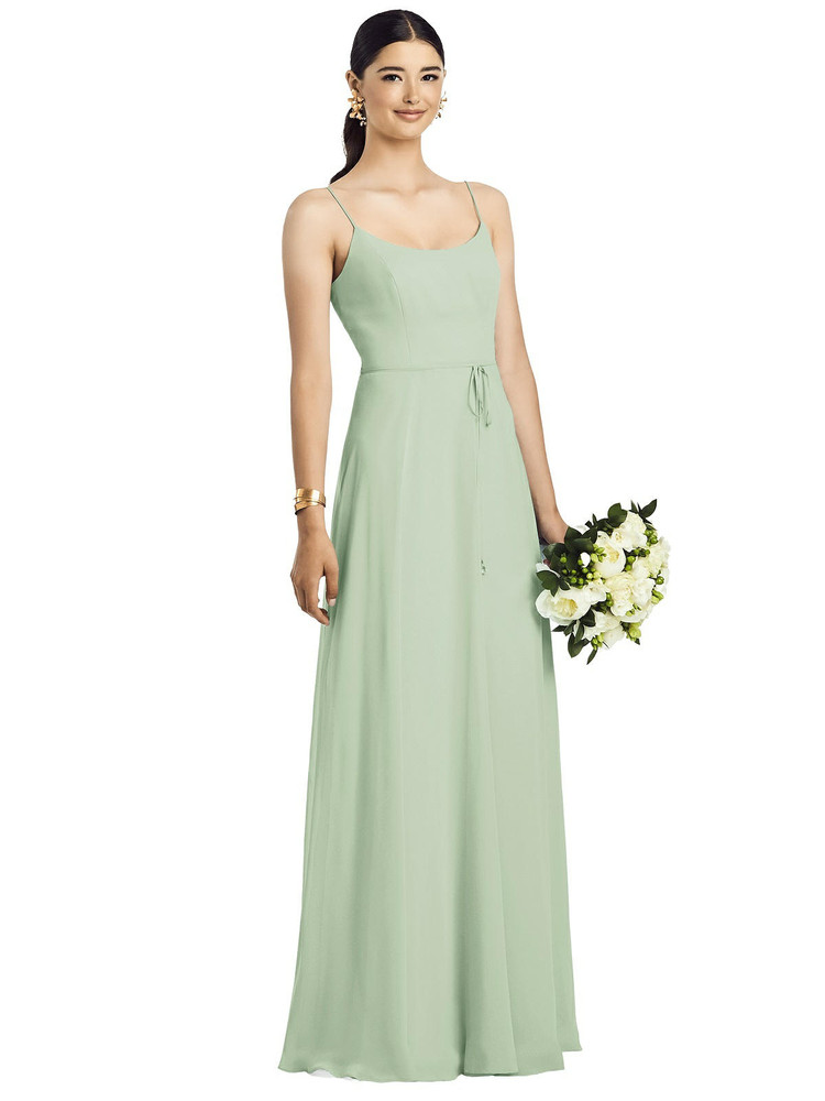 Spaghetti Strap Chiffon Maxi Dress with Jeweled Sash by  After Six 1525 in 64 colors in celadon