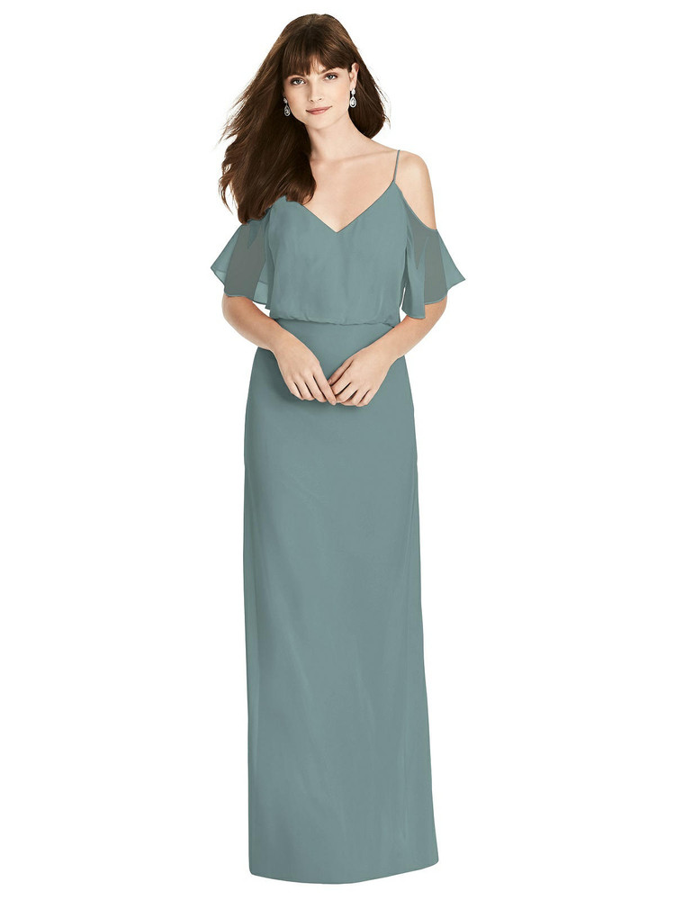 Ruffled Cold-Shoulder Blouson Maxi Dress by  After Six 6781 in 64 colors in icelandic