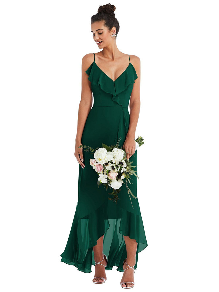 Ruffle-Trimmed V-Neck High Low Wrap Dress Thread Bridesmaid Style TH040