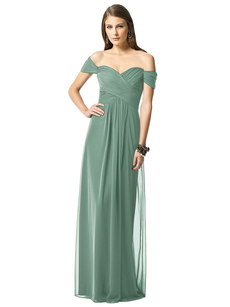 Off-the-Shoulder Ruched Chiffon Maxi Dress - Alessia by Thread Bridesmaid Style TH028 in 61 color