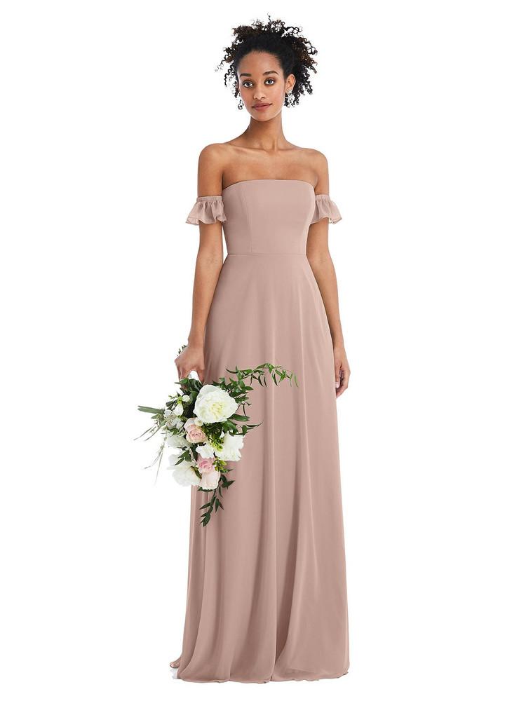 Off-the-Shoulder Ruffle Cuff Sleeve Chiffon Maxi Dress Thread Bridesmaid Style TH046  in Bliss