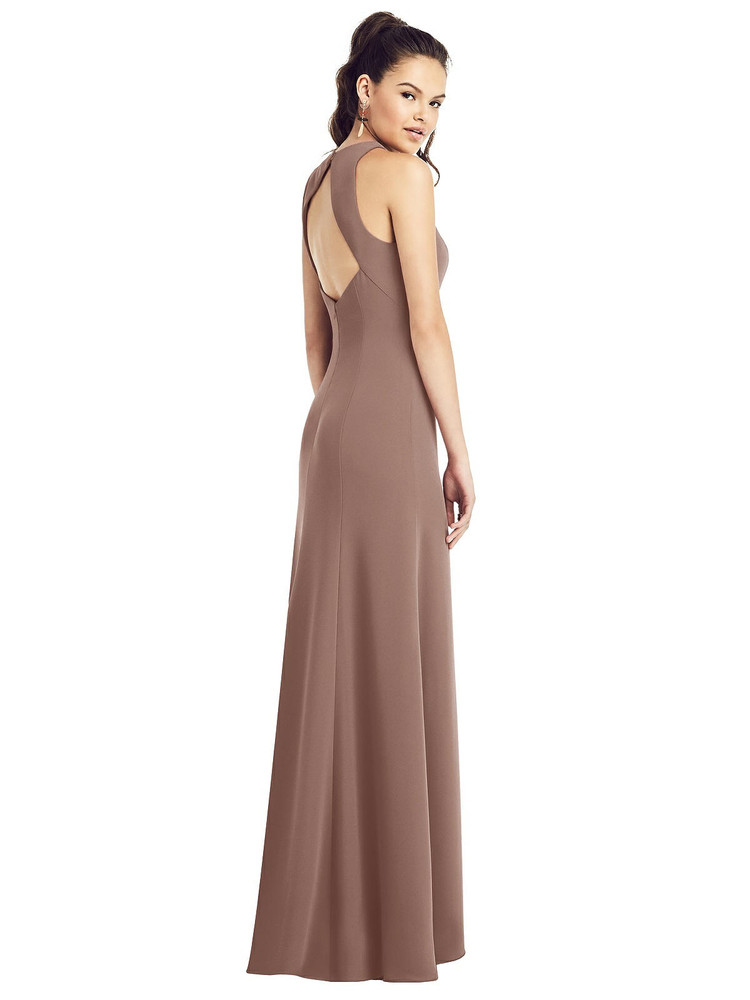Open-Back Jewel Neck Trumpet Gown with Front Slit by Thread Bridesmaid Style TH020 in 36 colors