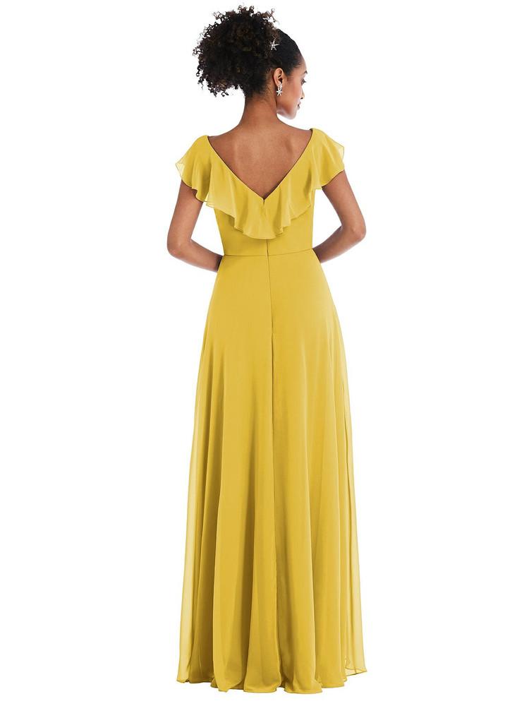 Ruffle-Trimmed V-Back Chiffon Maxi Dress Thread Bridesmaid Style TH064