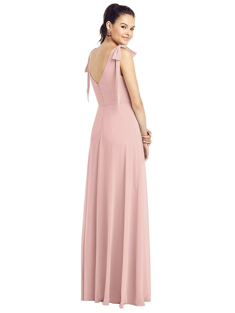 Bow-Shoulder V-Back Chiffon Gown with Front Slit by Thread Bridesmaid Style TH018 in 61 colors