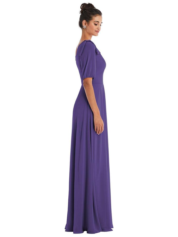 Bow One-Shoulder Flounce Sleeve Maxi Dress Thread Bridesmaid Style TH048