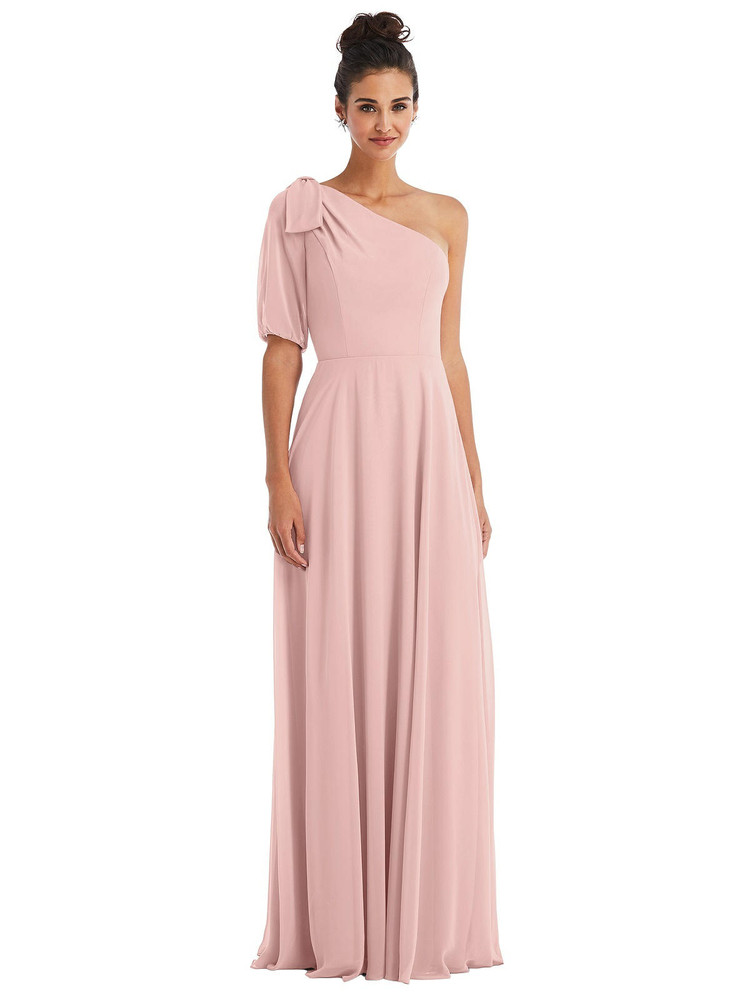 Bow One-Shoulder Flounce Sleeve Maxi Dress Thread Bridesmaid Style TH048 in Rose