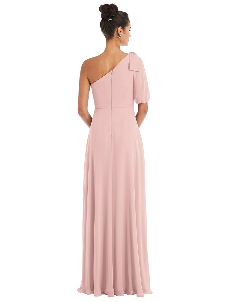 Bow One-Shoulder Flounce Sleeve Maxi Dress Thread Bridesmaid Style TH048 in 64 colors