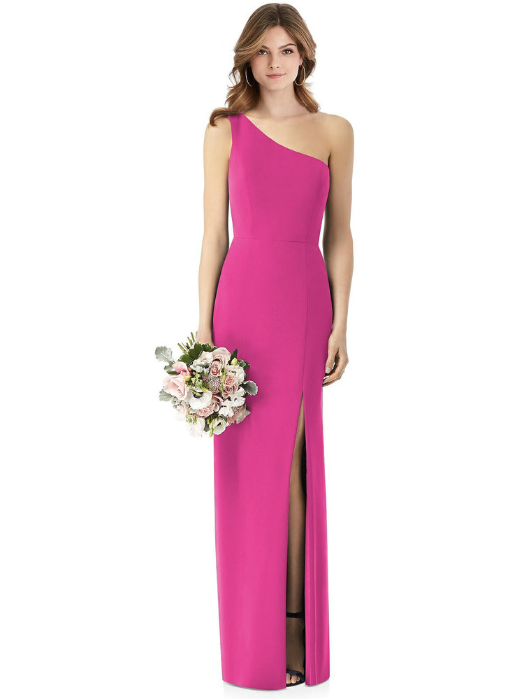 One-Shoulder Crepe Trumpet Gown with Front Slit Thread Bridesmaid Style TH087