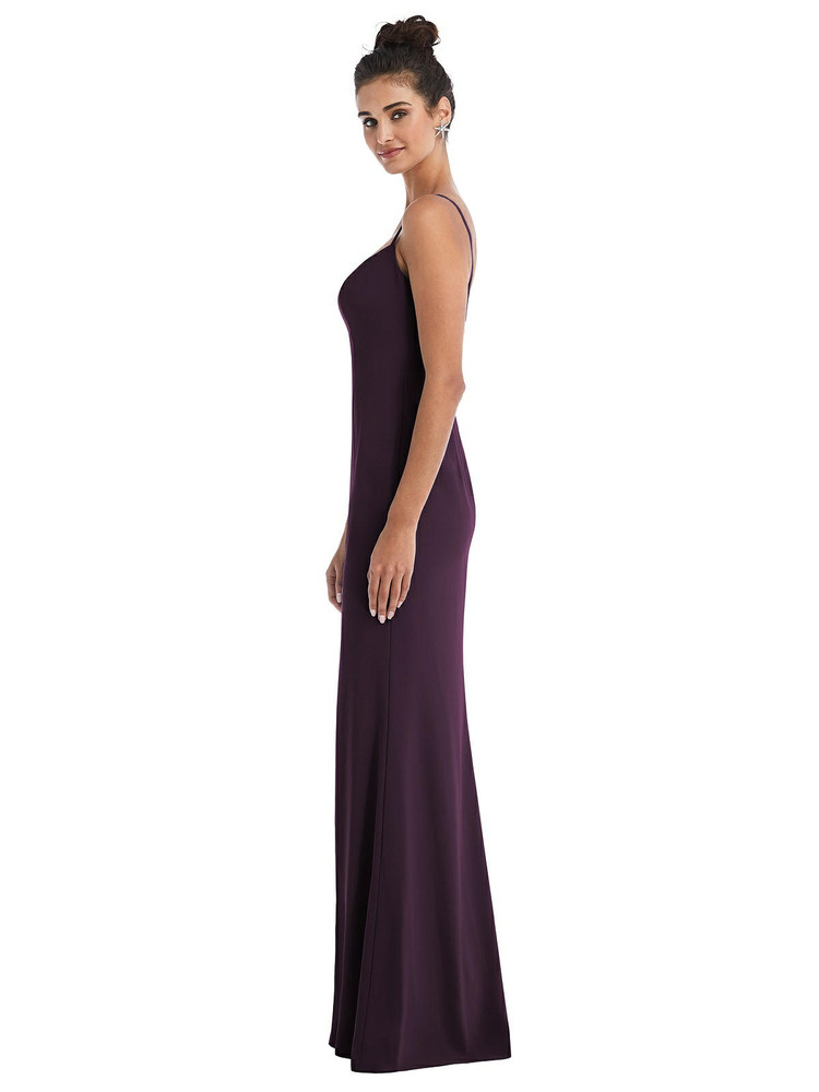 Notch Crepe Trumpet Gown with Front Slit Thread Bridesmaid Style TH049