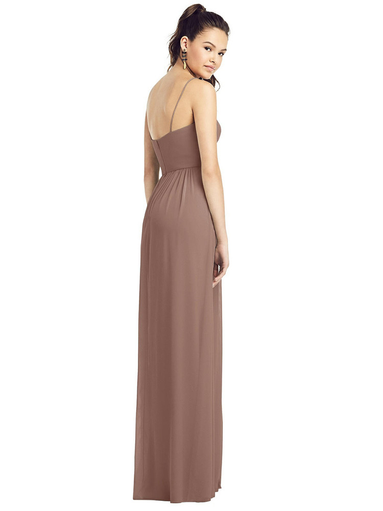 Slim Spaghetti Strap Chiffon Dress with Front Slit Thread Bridesmaid Style TH017