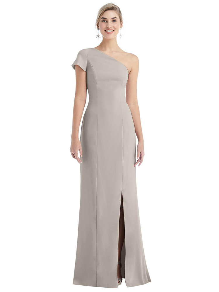 One-Shoulder Cap Sleeve Trumpet Gown with Front Slit Thread Bridesmaid Style TH043 in 35 colors in Taupe