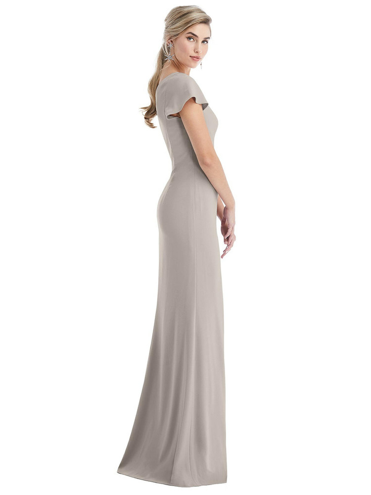 One-Shoulder Cap Sleeve Trumpet Gown with Front Slit Thread Bridesmaid Style TH043 in 35 colors