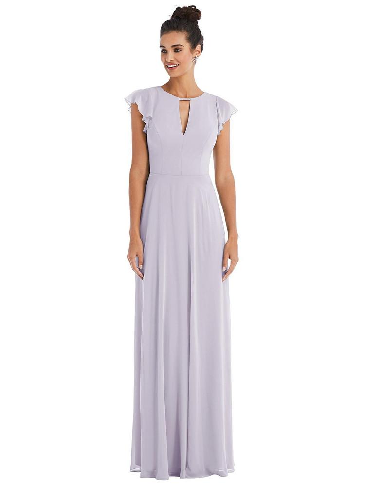 Flutter Sleeve V-Keyhole Chiffon Maxi Dress Thread Bridesmaid Style TH042