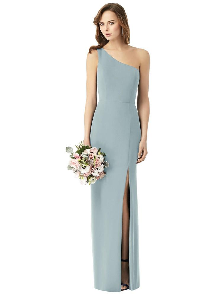 One-Shoulder Chiffon Trumpet Gown Thread Bridesmaid Style TH014