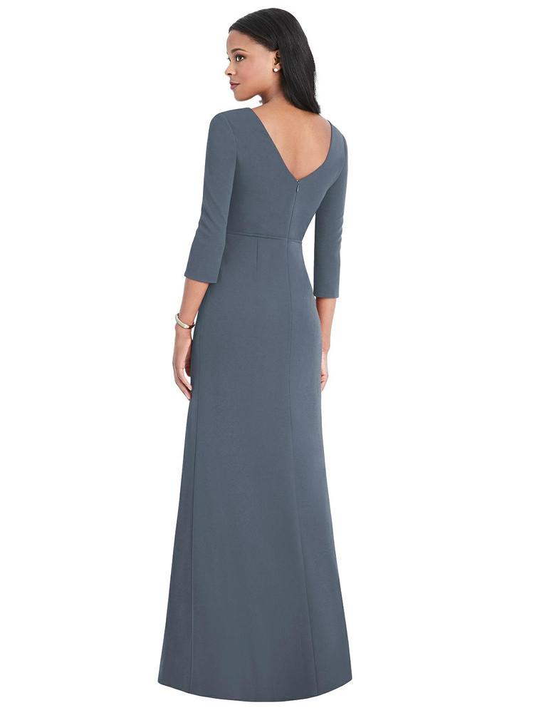 3/4 Sleeve V-Back Draped Wrap Maxi Dress - Yara Thread Bridesmaid Style TH037