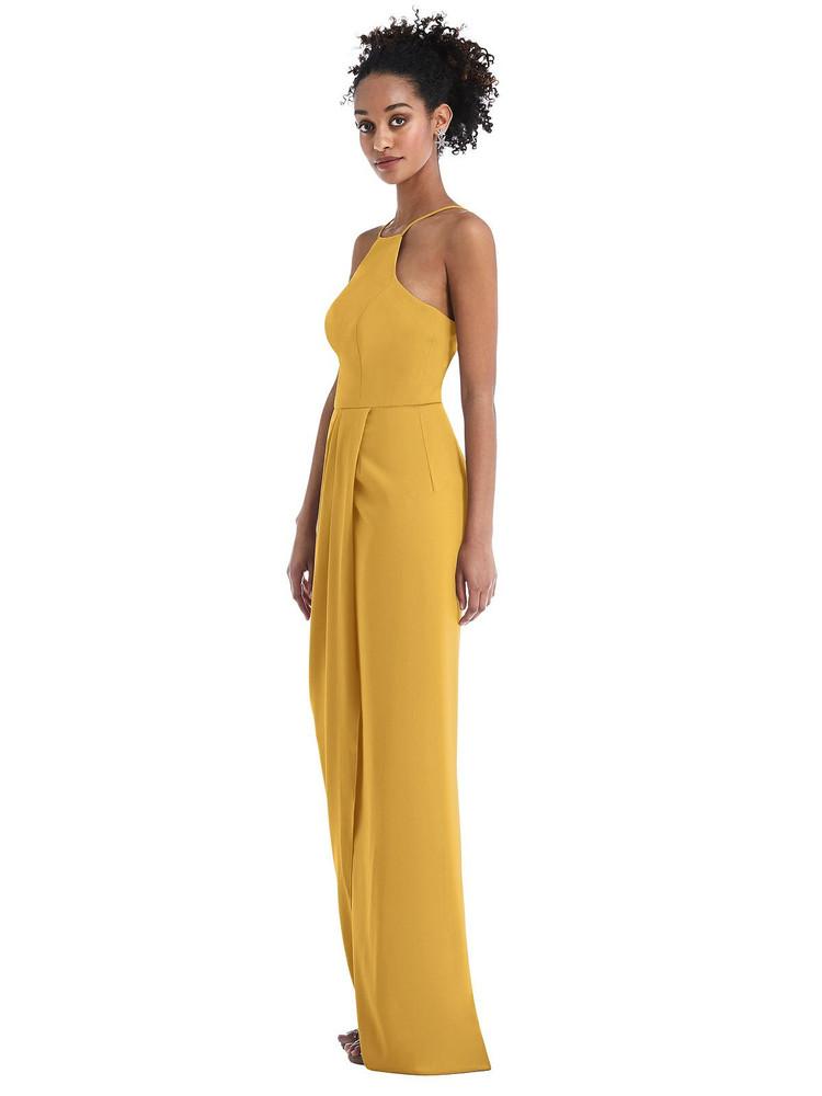 Halter Draped Tulip Skirt Maxi Dress Thread Bridesmaid Style TH044