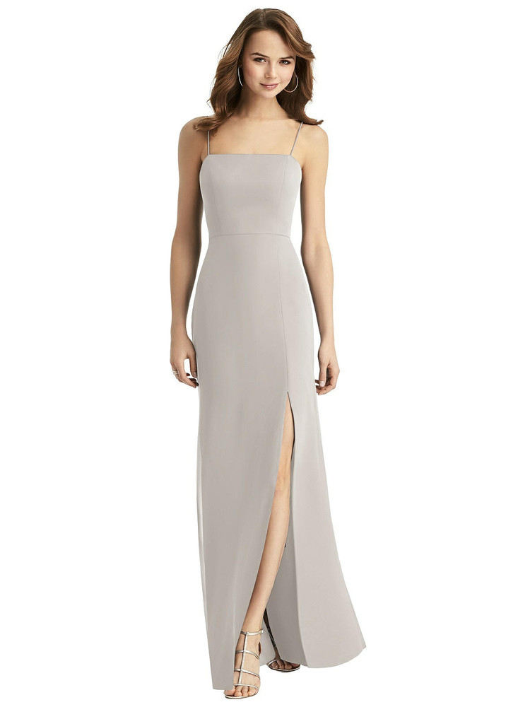Tie-Back Cutout Trumpet Gown with Front Slit Thread Bridesmaid Style TH013