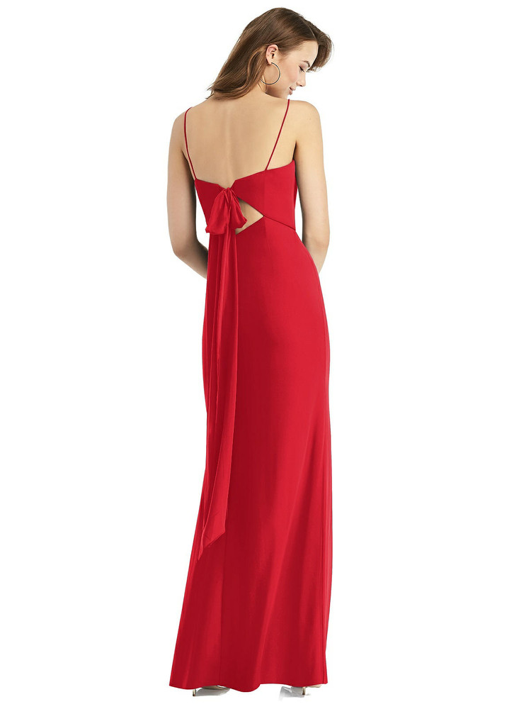 Tie-Back Cutout Trumpet Gown with Front Slit Thread Bridesmaid Style TH013 in 64 colors in Parisian red
