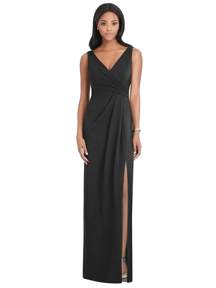 Draped Wrap Maxi Dress with Front Slit - Sena Thread Bridesmaid Style TH036 in black