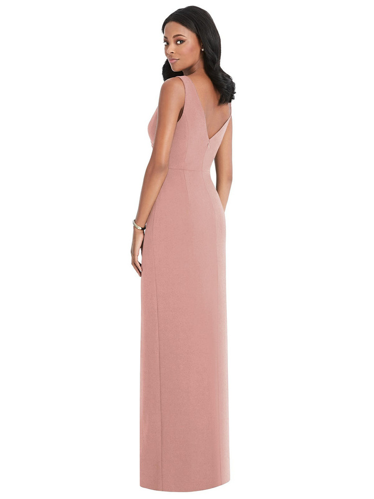 Draped Wrap Maxi Dress with Front Slit - Sena Thread Bridesmaid Style TH036 in desert rose